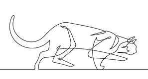Stalking Cat Continuous Line Vector Art. Check out a cat stalking its prey in a continuous line vector illustration Stock Images