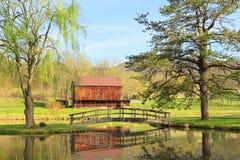 Stall über dem Teich Stockbild
