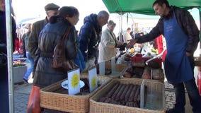 Stall bag sausage stock footage