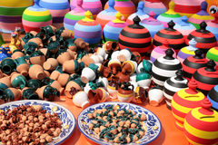 Stall of colored pottery Royalty Free Stock Photo