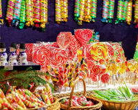 Stall with colorful candies in the Christmas Market Vilnius Stock Images