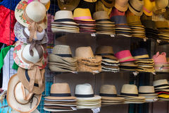 Stall with craftsmanship hats Stock Photo