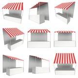 Stall för marknadsställningskiosk med den randiga markisen för befordranförsäljning Arkivbilder