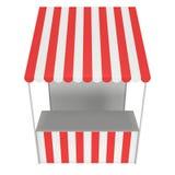 Stall för marknadsställningskiosk med den randiga markisen för befordranförsäljning Fotografering för Bildbyråer