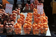 Stall with fruits at street market stock photo