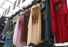 Stall with hanging belly dance costumes Royalty Free Stock Image