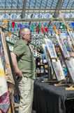Stall holders and shoppers at Tynemouth Market. Royalty Free Stock Photo