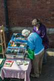 Stall holders and shoppers at Tynemouth Market. Stock Image