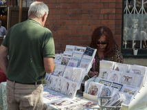 Stall holders and shoppers at Tynemouth Market. Stock Images