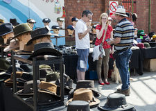 Stall holders and shoppers at Tynemouth Market. Royalty Free Stock Photos