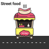 A stall with hot dogs. The street food. A stall on a white background. Vector eps 10 Royalty Free Stock Photography
