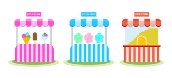 Stall with ice cream, sweet wadding, popcorn, children`s amusement park. Stock Image