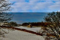 Stall im Snowy-Ackerland Lizenzfreies Stockfoto