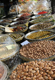 Stall with many qualities of Mediterranean olives and other prod. Ucts for sale in the european market Stock Photography