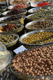 Stall with many qualities of Mediterranean olives and other prod. Ucts for sale in the market Royalty Free Stock Image