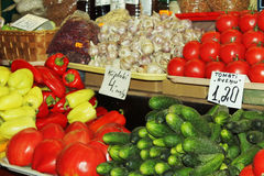 Stall in the market. Fruit and vegetables stall in Riga, latvia Stock Photography