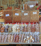 Stall with nuts and dried fruits on the street market Stock Photos