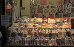 Stall with nuts and dried fruits on the street market Royalty Free Stock Photos