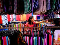 Stall owner selling clothes in taytay, rizal, philippines Stock Photography