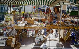 Stall of a pedlar on an open-air commercial fair Royalty Free Stock Photos