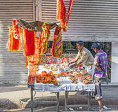 Stall for sacrificial offerings at the Chawri Bazar in Delhi Stock Images