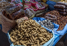 A stall selling various nuts in Copacabana, Bolivia. Stock Images