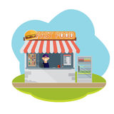 Stall sells fast food. Flat vector Stock Photo
