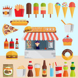 Stall sells fast food. Flat vector Royalty Free Stock Image