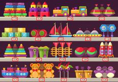Stall or showcase with kids or children toys Stock Image