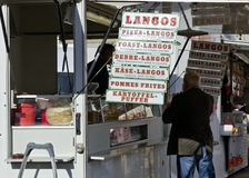Stall with snacks on an outdoor commercial fair Stock Image