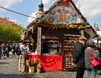 Stall with souvenirs and tourists in Prague. Old Town Square, during Easter time Royalty Free Stock Images