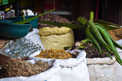 Stall at a spice market in Asia. Bags full of oriental spices Stock Photos