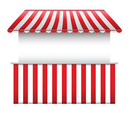 Stall with Striped Awning. Vector shop stall with striped awning Stock Photo