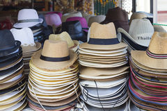 Stall with summer hats at Chopsticks Hill in Hua Hin Royalty Free Stock Photography