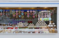 Stall with sweeties at an outdoor commercial fair Royalty Free Stock Images