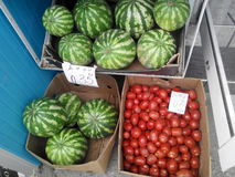 Stall with tomatoes and watermelons Royalty Free Stock Photography