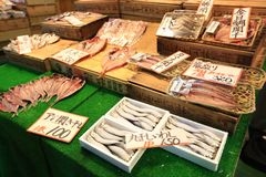 Stall in Tsukiji fish market stock photo