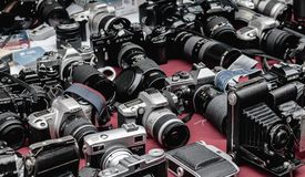 Vintage cameras on sell at the Brick lane market-london royalty free stock image