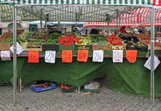 Stall with vegetables on street market in Malmo, Sweden Stock Images