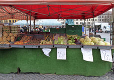 Stall with vegetables on street market in Malmo, Sweden. Malmo, Sweden - April 22, 2017: stall with vegetables on street market in Malmo, Sweden Stock Images