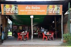 Stalla cambogiana che vende alimento nel mercato Fotografia Stock Libera da Diritti