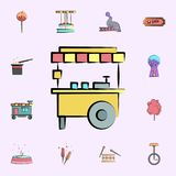 stalla con l'icona colorata cereale caldo insieme universale delle icone del circo per il web ed il cellulare illustrazione di stock