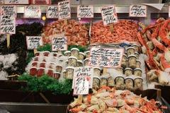 Stalla dei frutti di mare & del pesce Fotografia Stock Libera da Diritti