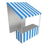 Stalla del chiosco del supporto del mercato con la tenda a strisce per la vendita di promozione Immagine Stock Libera da Diritti