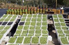 Stalla del lato della strada delle olive, Giordania Fotografia Stock Libera da Diritti