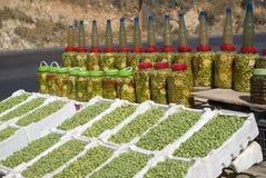 Stalla del lato della strada delle olive, Giordania Immagini Stock Libere da Diritti