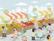 Stalla del mercato illustrazione vettoriale