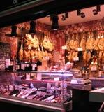 Stalla del mercato del prosciutto in Granada Fotografia Stock