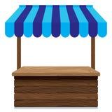 Stalla di legno del mercato con la tenda blu su fondo bianco Fotografia Stock Libera da Diritti