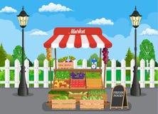 Stalla di legno tradizionale dell'alimento del mercato royalty illustrazione gratis